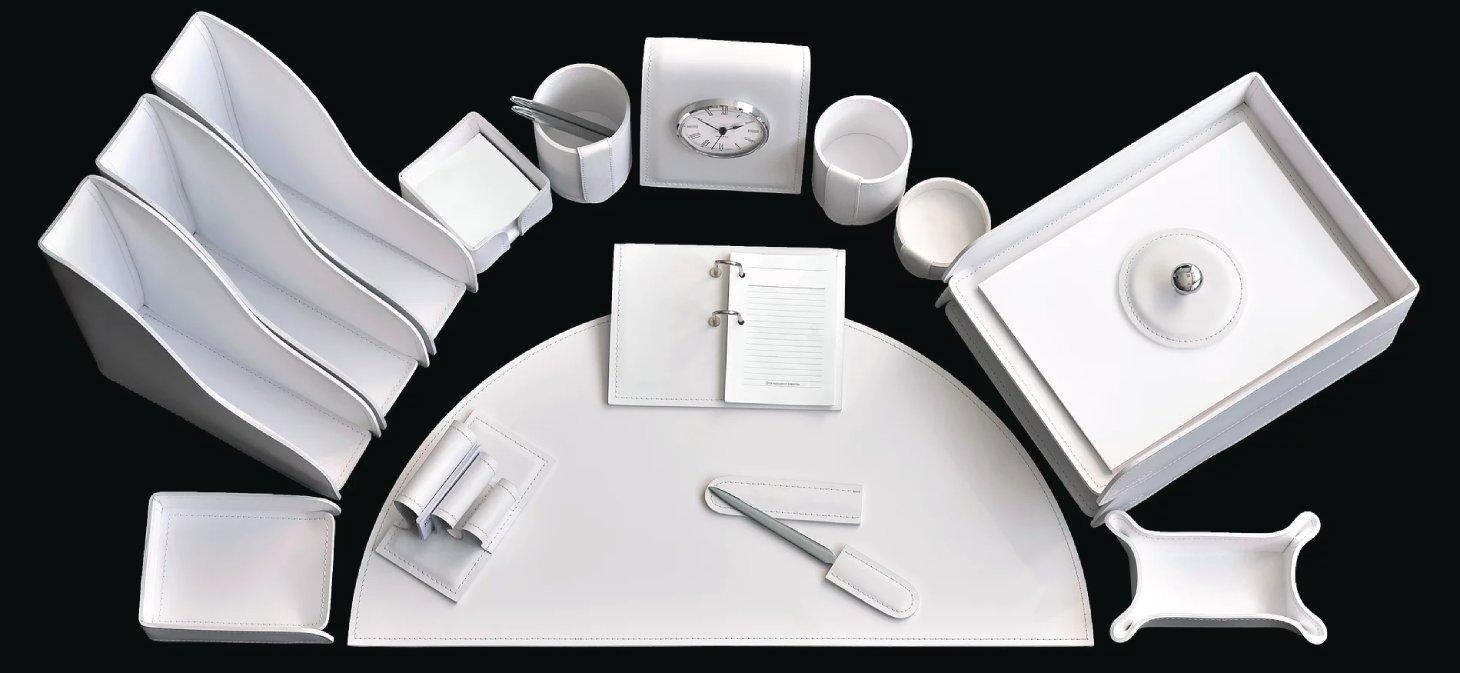 белый кожаный набор настольный в кабинет