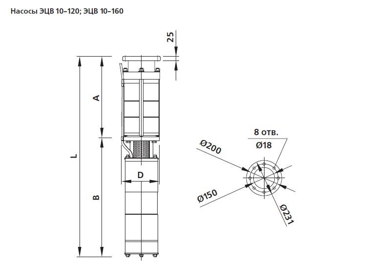 Насос ЭЦВ 10 габаритные чертежи