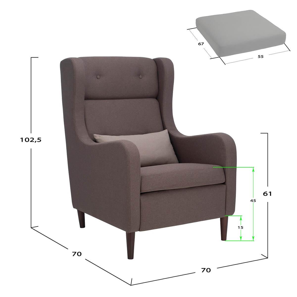 Размеры каминного кресла Leset Galant