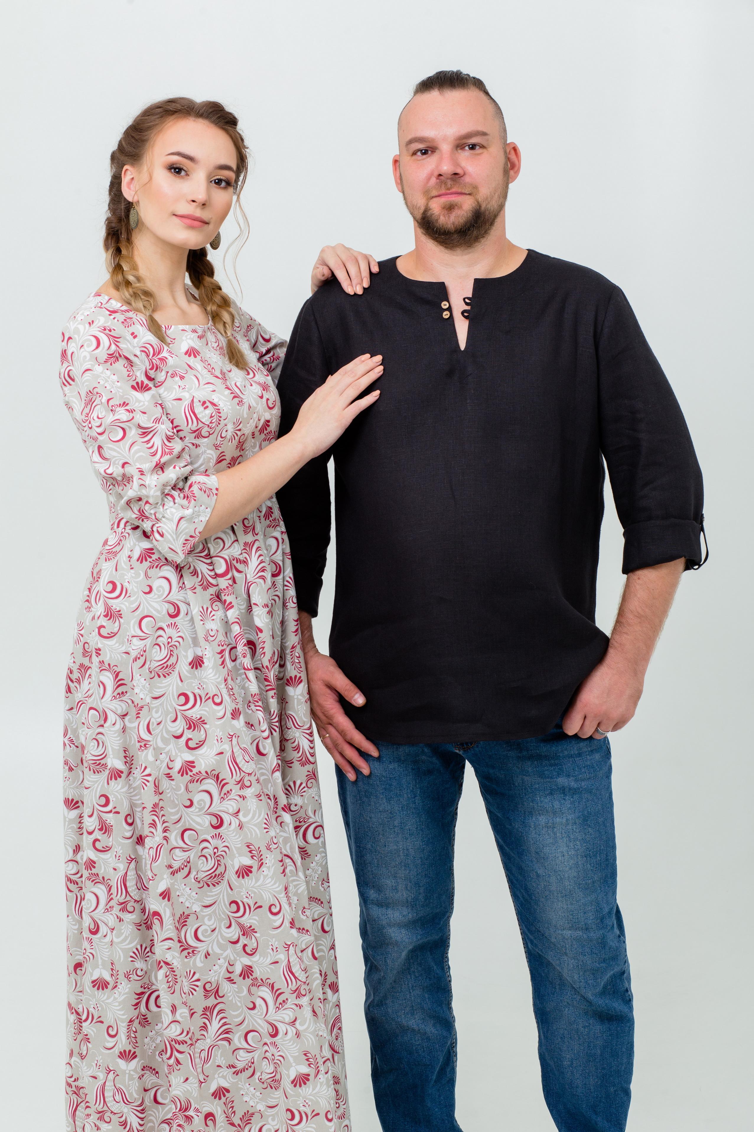 Платье Красные петухи и Рубашка Черноморская