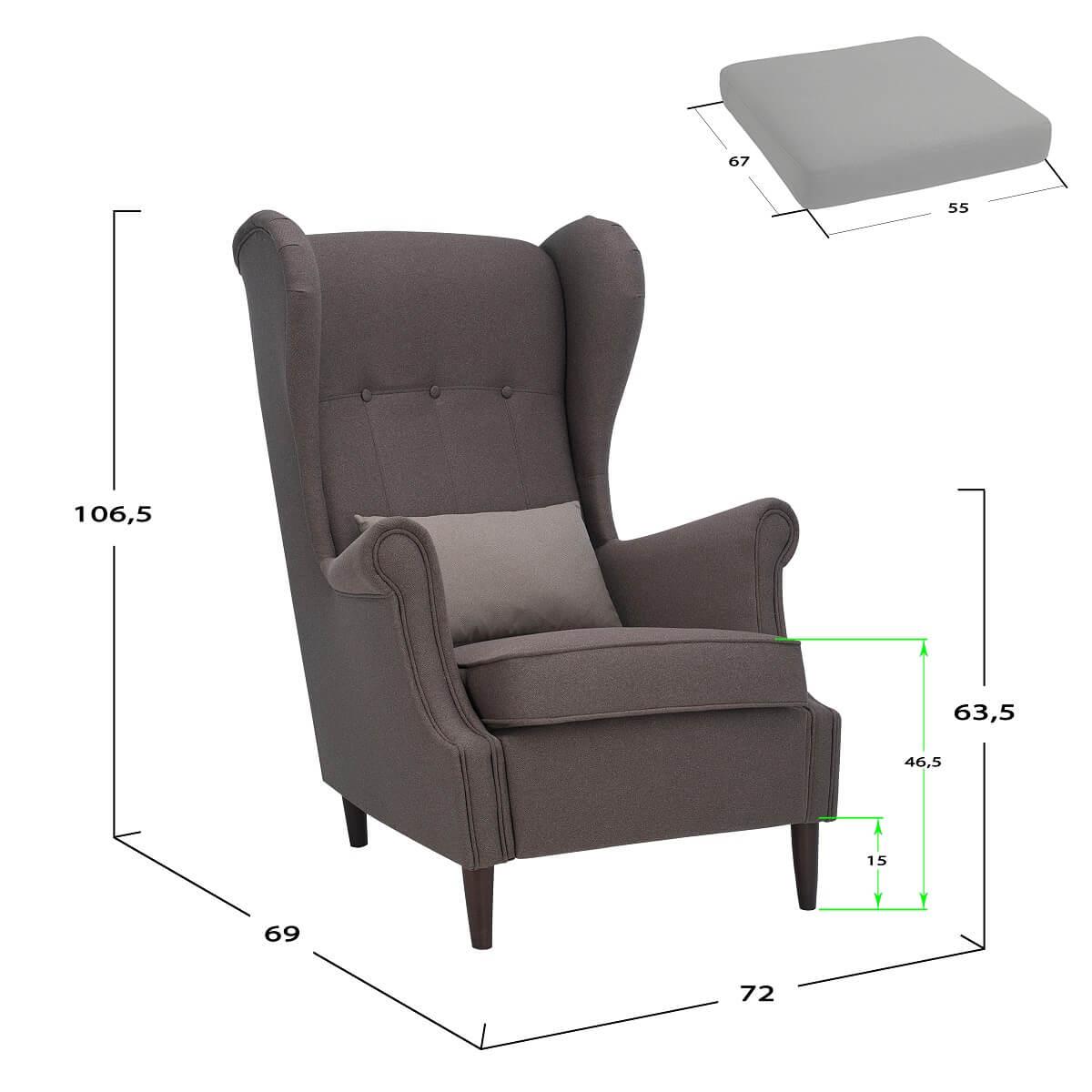 Каминное кресло для отдыха leset Монтего - габариты и размеры