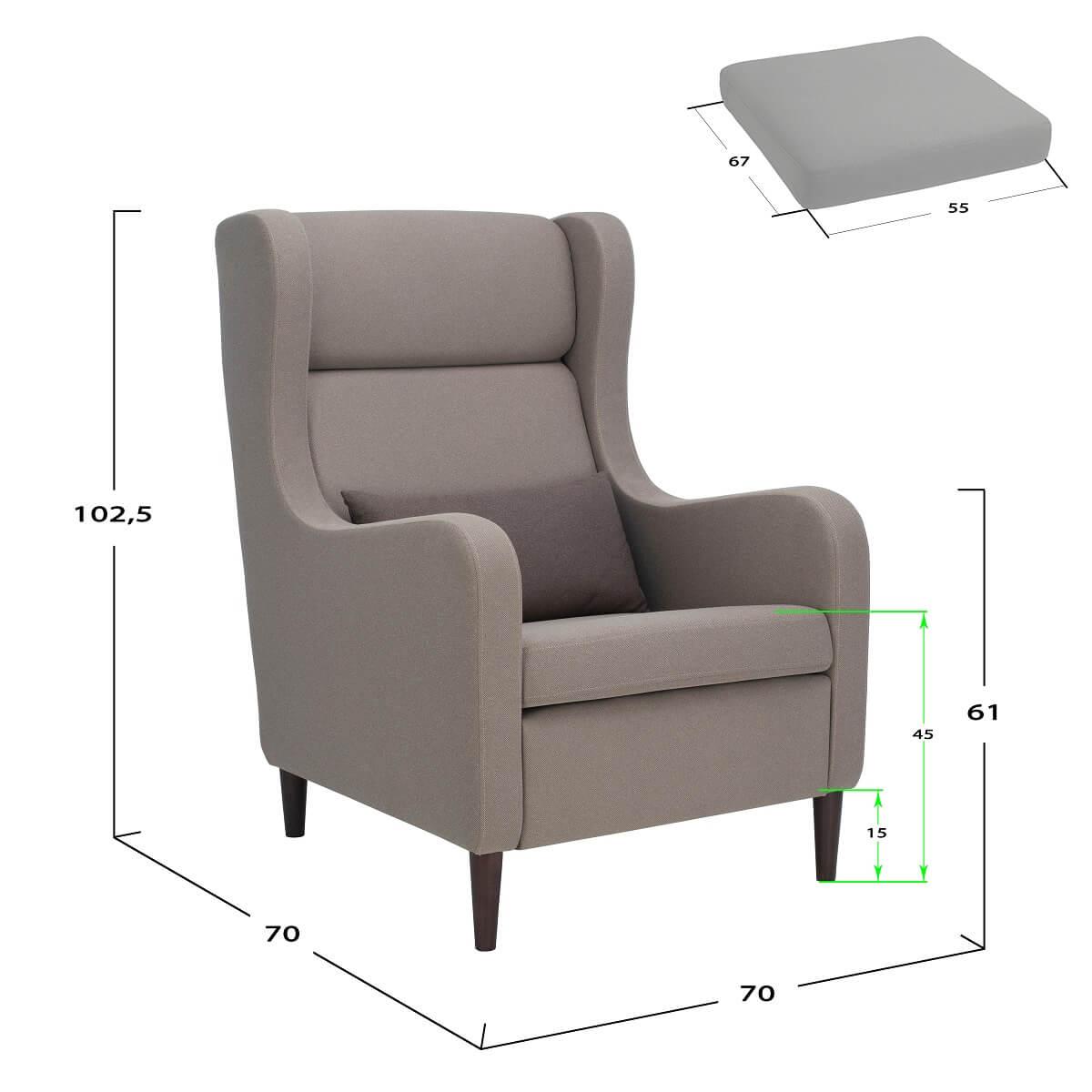 Кресло для отдыха каминное Leset Хилтон - габариты и размеры