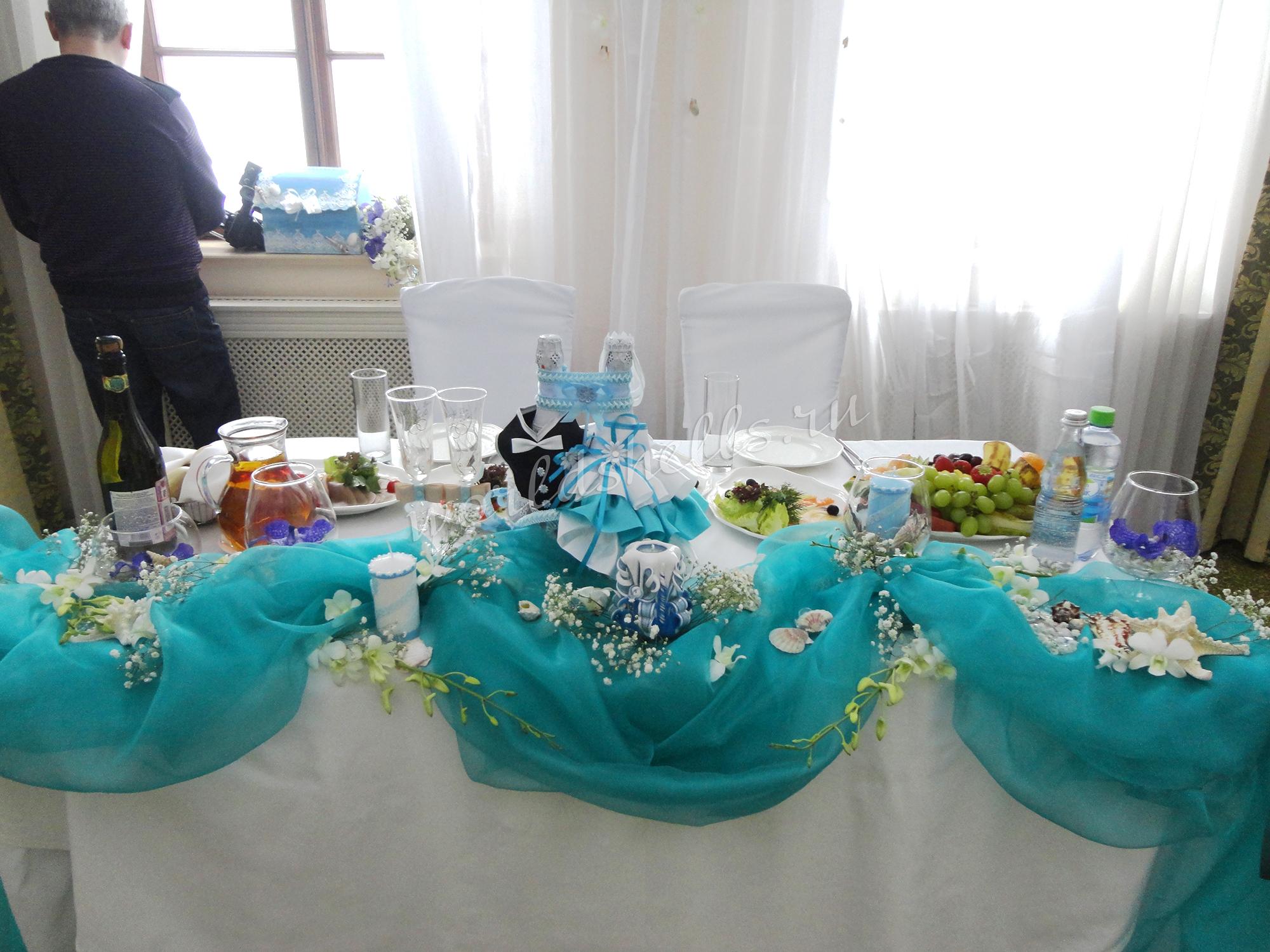 Оформление свадебного президиума на морской свадьбе