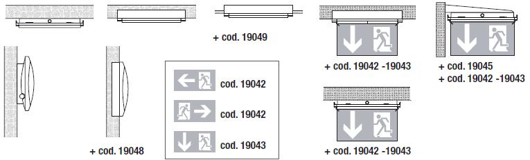 Варианты установки и монтажа для аварийного эвакуационного светильника с аккумулятором Formula 65 LED Li-Fe