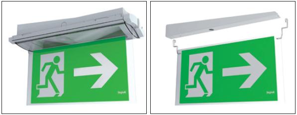 Кронштейн для крепления флагом, двухстороннее табло для аварийного эвакуационного светильника с аккумулятором Formula 65 LED Li-Fe