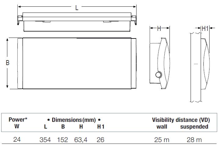 Крепления для встраиваемого монтажа, двухстороннее табло для аварийного эвакуационного светильника с аккумулятором Formula 65 LED Li-Fe