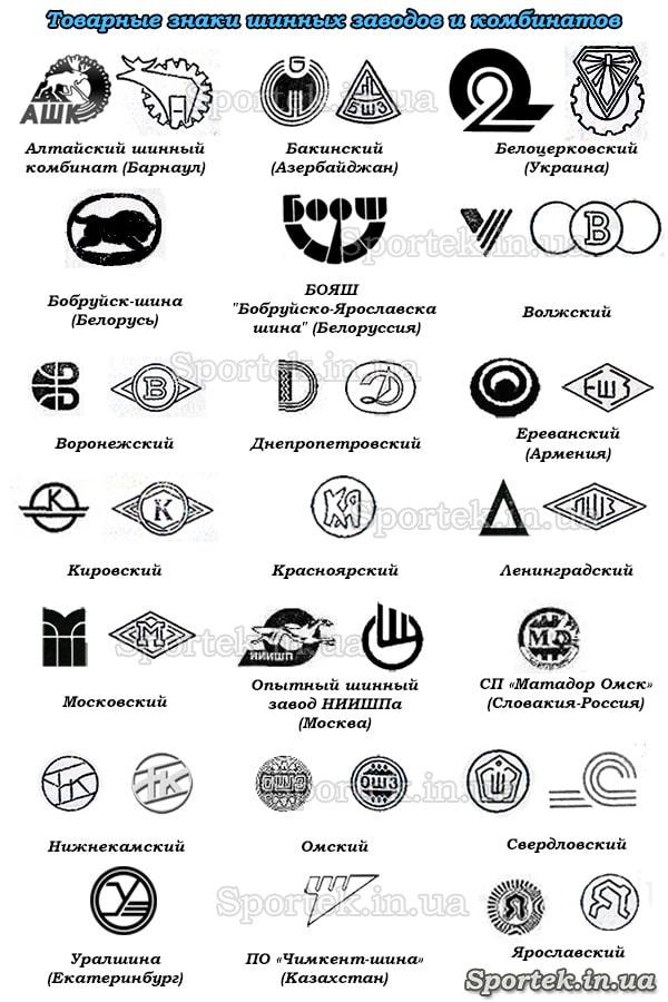 Маркировка производителей советских покрышек