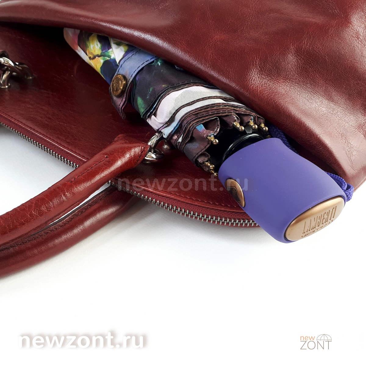 Плоский фиолетовый зонт автомат Lamberti