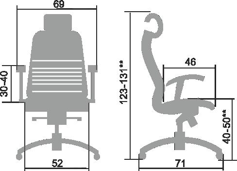 Размеры кресла Samurai K 3.03