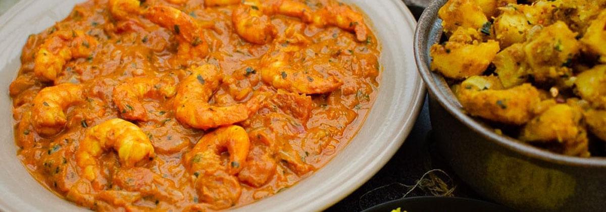 Креветки в соусе карри и гарам масала