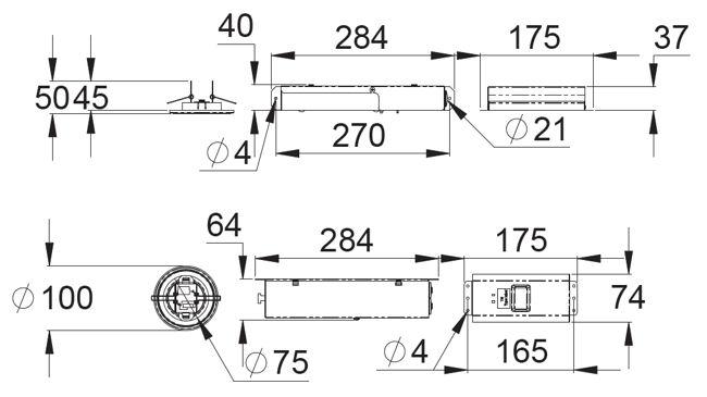 Монтажные размеры аварийно-эвакуационных светильников ZONESPOT II – автономные на супер-конденсаторах