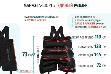 Размеры массажных шорт на 3 молнии