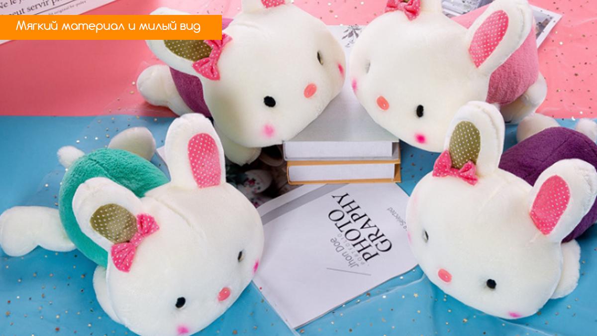 """Мягкая игрушка """"Розовый кролик с бантиком"""""""