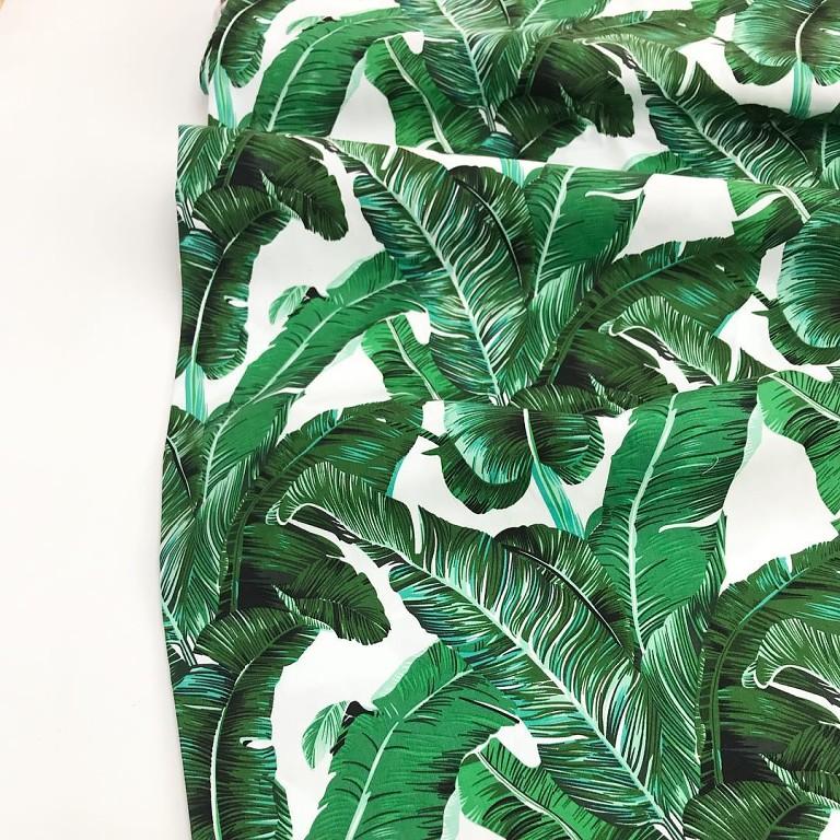 Ткань с принтом тропические листья