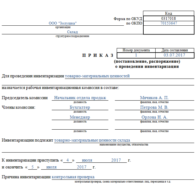 Образец приказа о проведении проверки