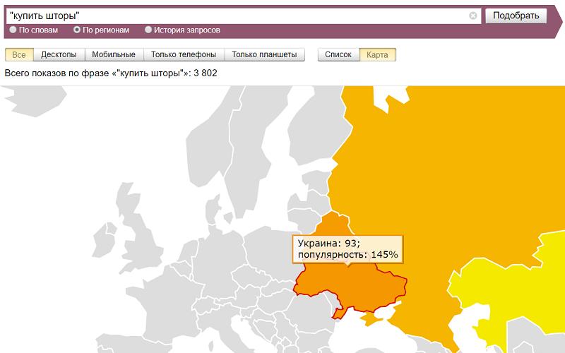 Спрос на шторы в Украине