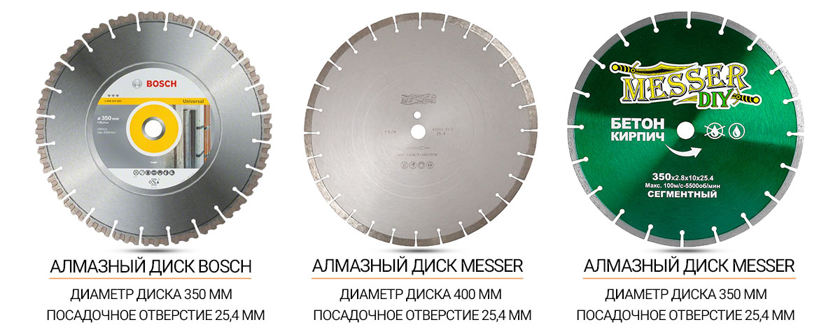 Алмазные диски для ручных бензорезов с посадочным отверстием 25,4 мм