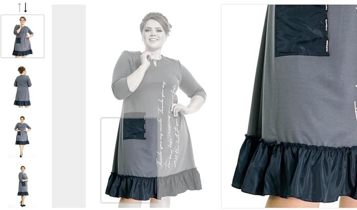 Демонстрация платья намодели plus size