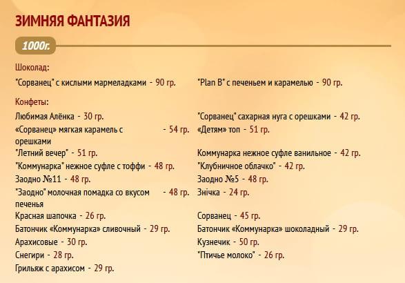 """Новогодний подарок """"Зимняя фантазия"""" 1000г. Коммунарка"""