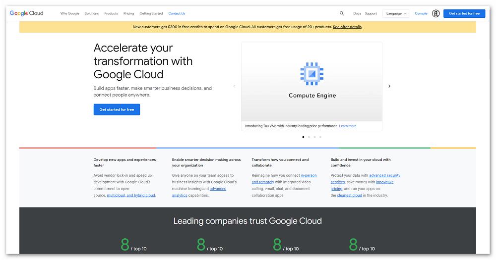 Главная страница Google Cloud Platform