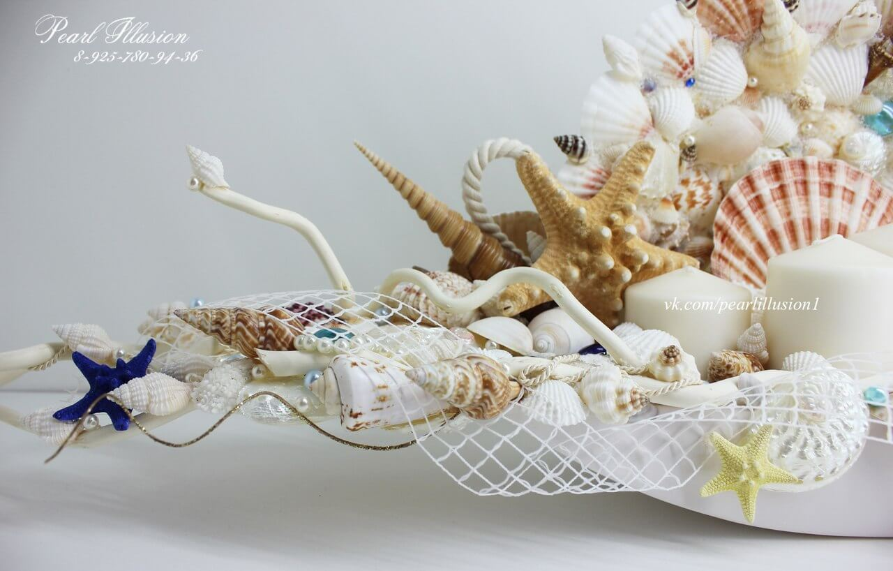 Композиция-подсвечник из морских ракушек