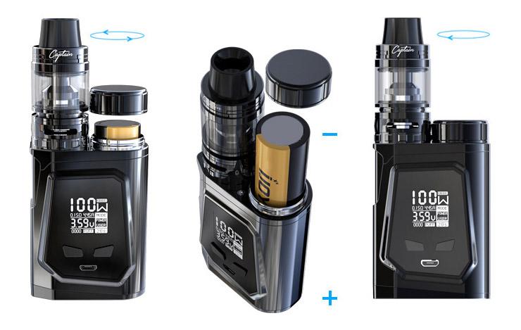 Установка батарейки в iJOY CAPO 100 Kit