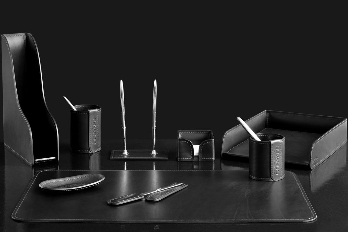 черный настольный набор из кожи люкс 9 предметов