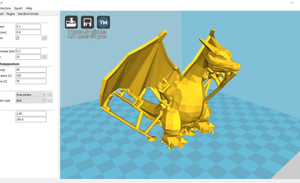 3D-модель в CURA с поддержками, сгенерированными в Meshmixer