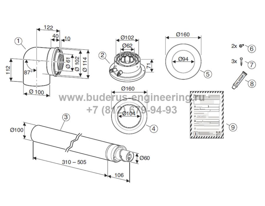 Комплектация дымохода для котла Buderus Logamax Plus GB-172i