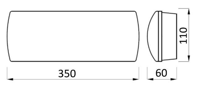 Размеры аварийного светильника Libra 3PLED B234 OP TEST