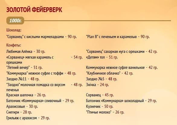 """Новогодний подарок """"Золотой фейерверк"""" 1000г. Коммунарка"""