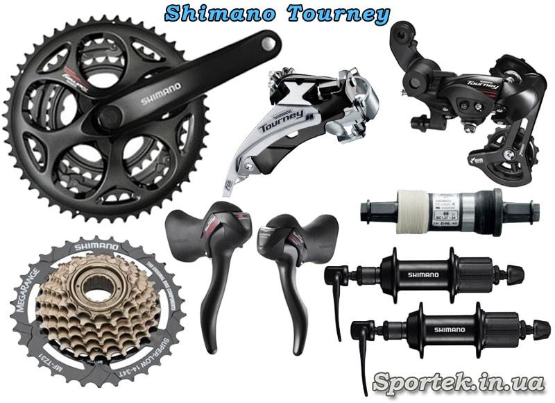 Оборудование Shimano Tourney для шоссейного велосипеда