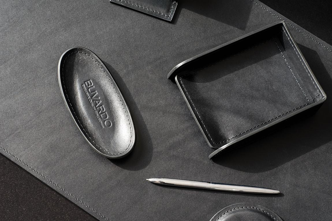 черный кожаный набор люкс в кабинет
