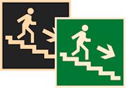 фотолюминесцентные знаки безопасности Е13 Направление к эвакуационному выходу по лестнице вниз направо