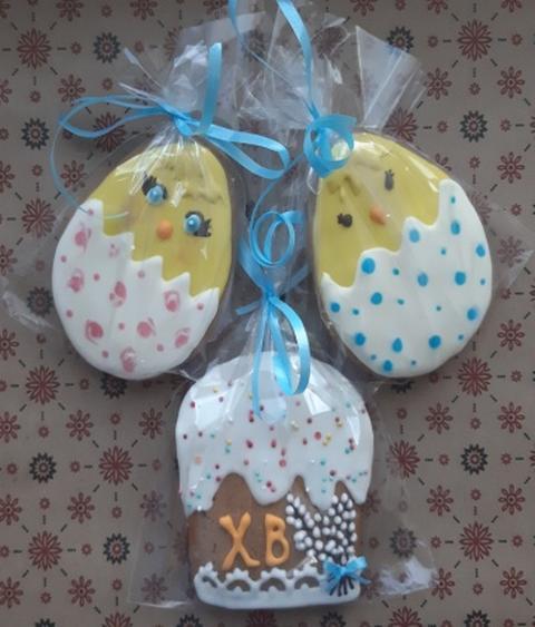 Пасхальный пряничный набор безглютеновый: 2 птенца, кулич, верба
