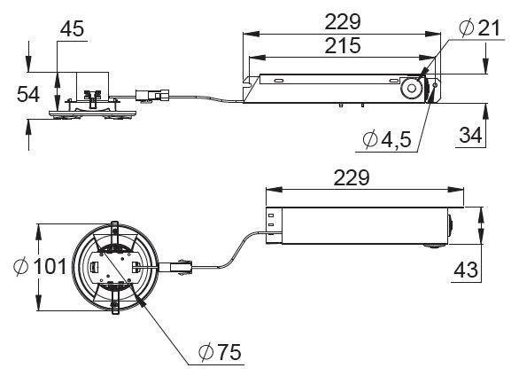 Монтажные размеры светильников эвакуационного освещения LINESPOT централизованного типа
