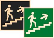 знаки фотолюминесцентные эвакуационные Е15 Направление к эвакуационному выходу по лестнице вверх направо