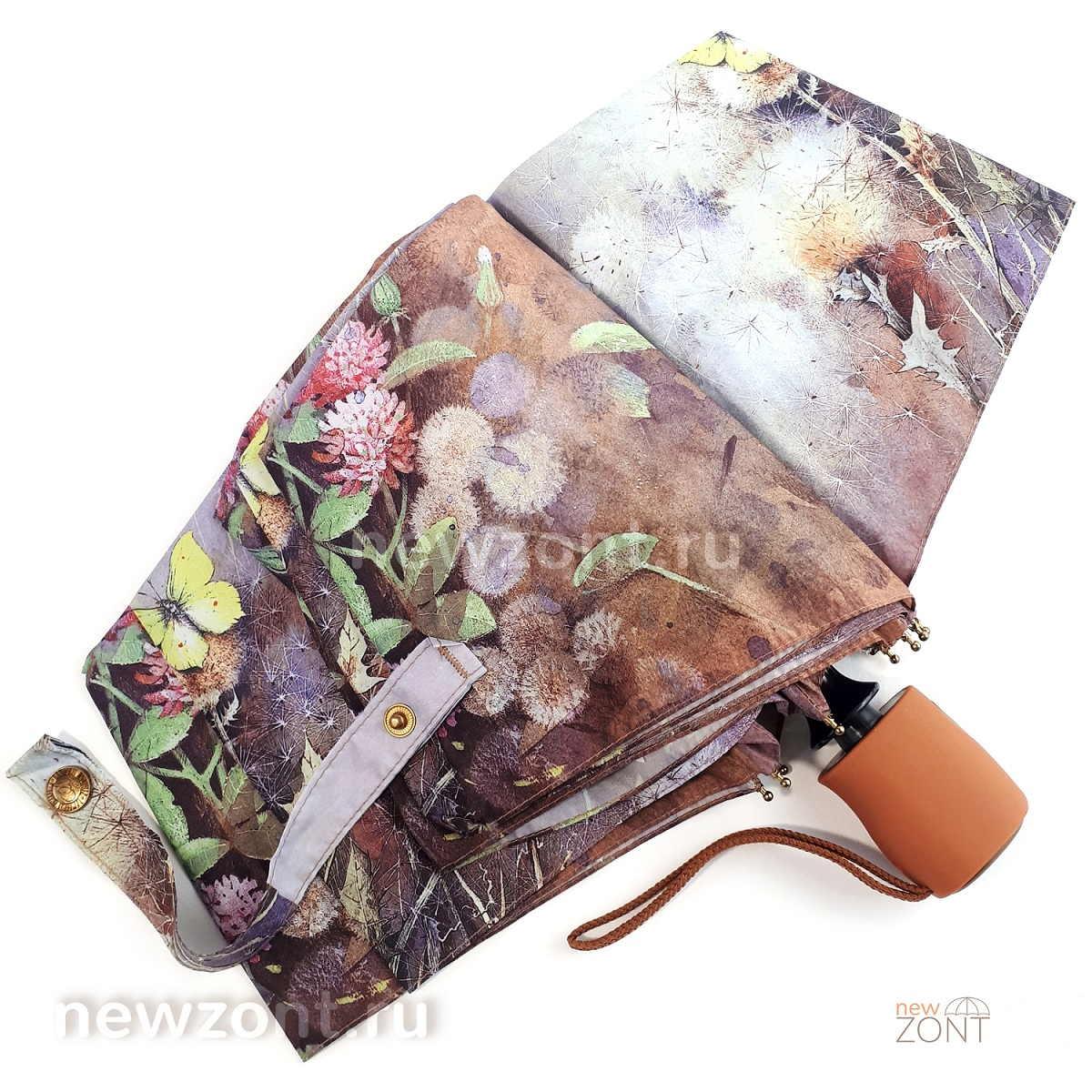 Плоский коричневый зонт автомат Ламберти