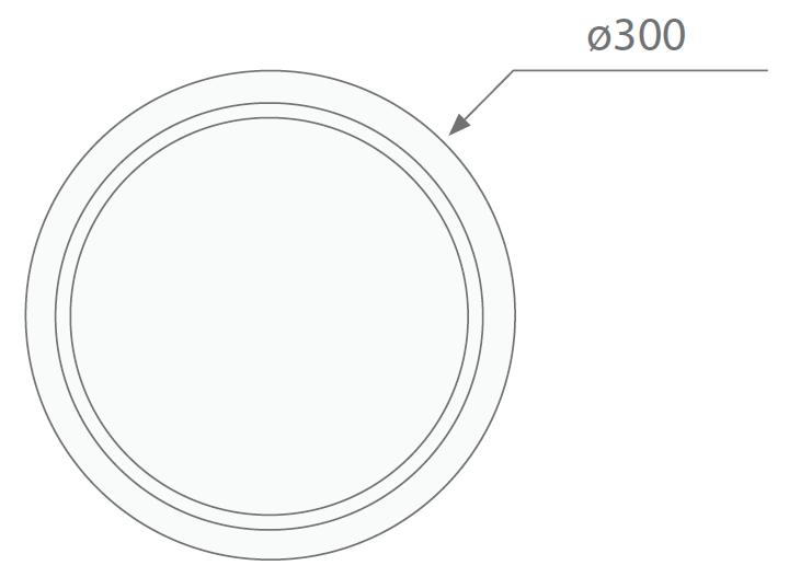 Размеры круглого накладного аварийного ЖКХ светильника серии Carina LED IP65 Intelight