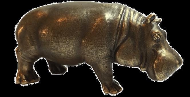 Бронзовая фигурка - бегемот из бронзы