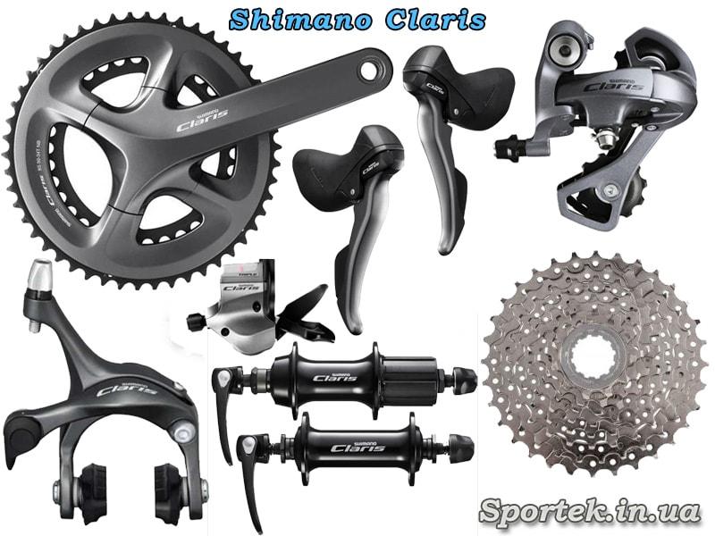 Обладнання Shimano Claris для шосейного велосипеда