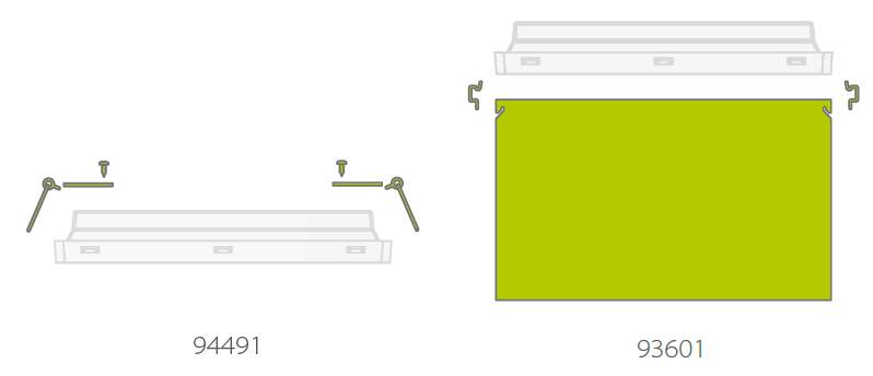 Комплекты для встраиваемого монтажа и для крепления двухстороннего табло в световом указателе серии Vella LED eco SO