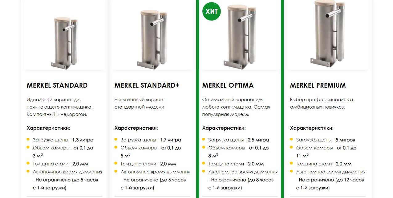 Дымогенераторы для коптилен Меркель, модели