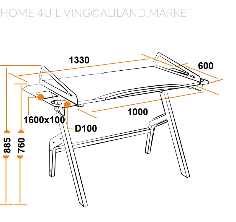 Размеры компьютерного игрового стола Cyber-3