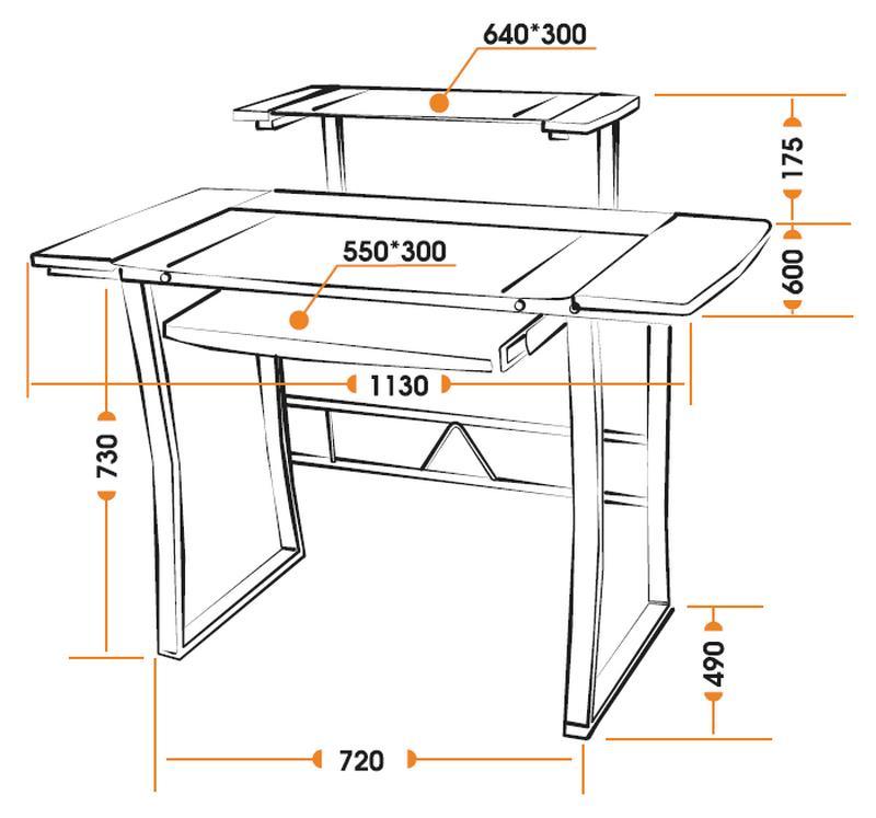 Размеры компьютерного стола STUDIO WRX-05