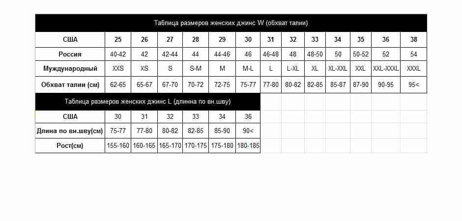 Таблица размеров женских джинс