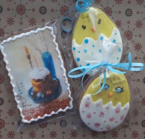 Безглютеновый подарочный набор к Пасхе 2 птенца и открытка пасхальный кулич