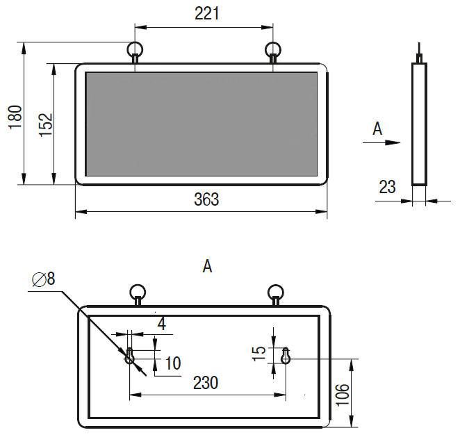 Технический чертеж аварийного светильника ССА 1002 «Запасный ВЫХОД»