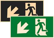 фотолюминесцентный знак эвакуации Е33 Направление к эвакуационному выходу налево вниз