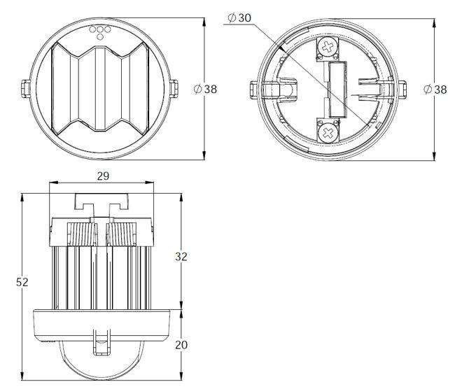 Монтажные размеры для централизованных светильников аварийного освещения MINI LINESPOT